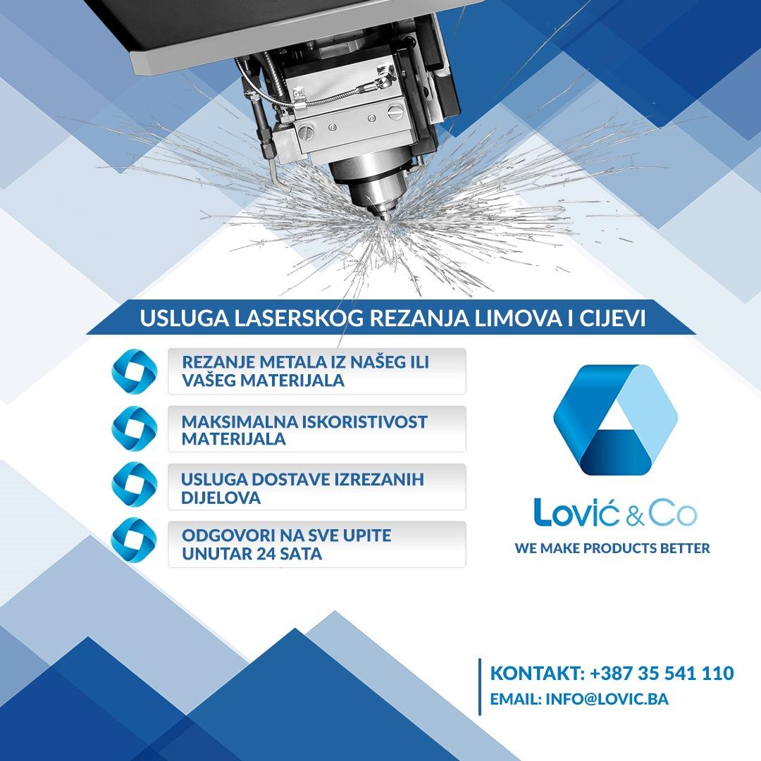 Ukoliko tražite pouzdanog dobavljača za lasersko rezanje metala, limova i cijevi, obratite se Lović & Co. Stručni tim Vam stoji na raspolaganju.