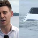 Novinar izvještavao uživo s jezera, dok je iza njega automobil nestajao u jezeru…