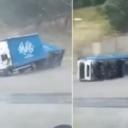 Objavljen snimak iz Cazina: Pogledajte kako je vjetar prevrnuo kamion